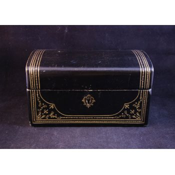 Black Italian leather dome top box with key