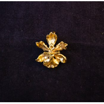 Gilt orchid flower costume brooch come pendant. Price includes nationwide delivery