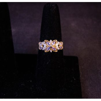 Amethyst and diamond ring set in 9k yellow gold in a butterfly design. Size O. Prices include nationwide delivery