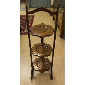 three tier brass inlaid cake stand