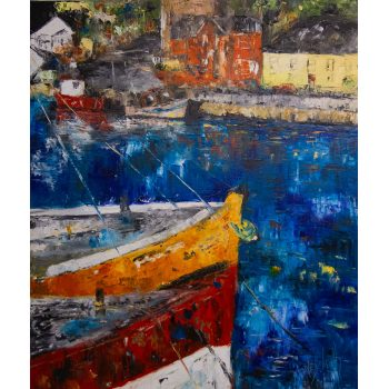 "Marley Irish ""Approaching the Quay"" acrylic painting on canvas. Frame measures 68 x 78.5cm, 51 x 61cm. Price includes nationwide delivery"