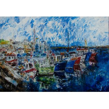 "Marley Irish ""Dunmore East Harbour"" acrylic painting on canvas, unframed. Canvas measures 100 x 70cm. Price includes nationwide delivery"