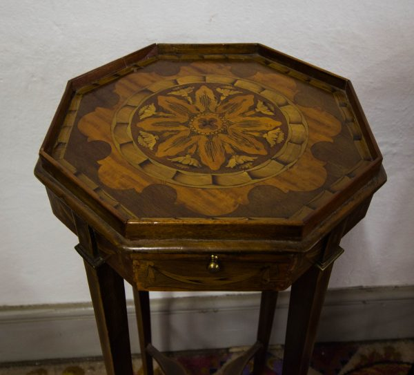 pair of marquetry occasional tables