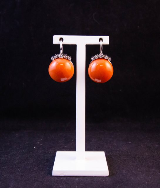 Pair of 18k white gold, diamond and pink coral drop earrings. Total diamond .22ct. Price includes nationwide delivery.
