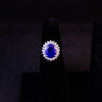 18k white gold, blue spinel and diamond ring. Total diamond content .4ct, total spinel content 3.2ct. Size L 1/2. Price includes nationwide delivery