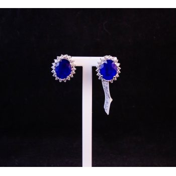 Pair of 18k white gold, blue spinel and diamond earrings. Total diamond content .8ct, total spinel content 5.98ct. Price includes nationwide delivery