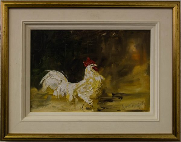 louise mansfield cockerel oil painting on board