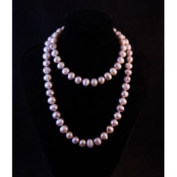 Champagne coloured mid-length pearl necklace
