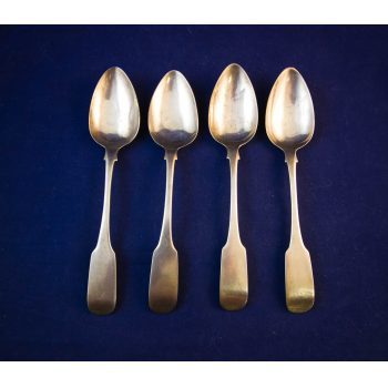 Set of four silver dessert spoons. Stamped S. Neville, Dublin 1831.