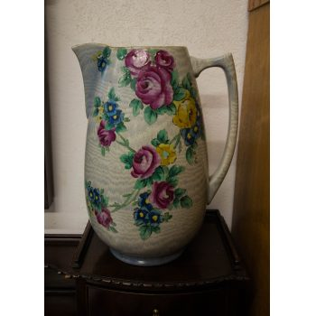 "Large Shelley china ""Tapestry"" painted jug. Measures 13""H x 9.5""W"