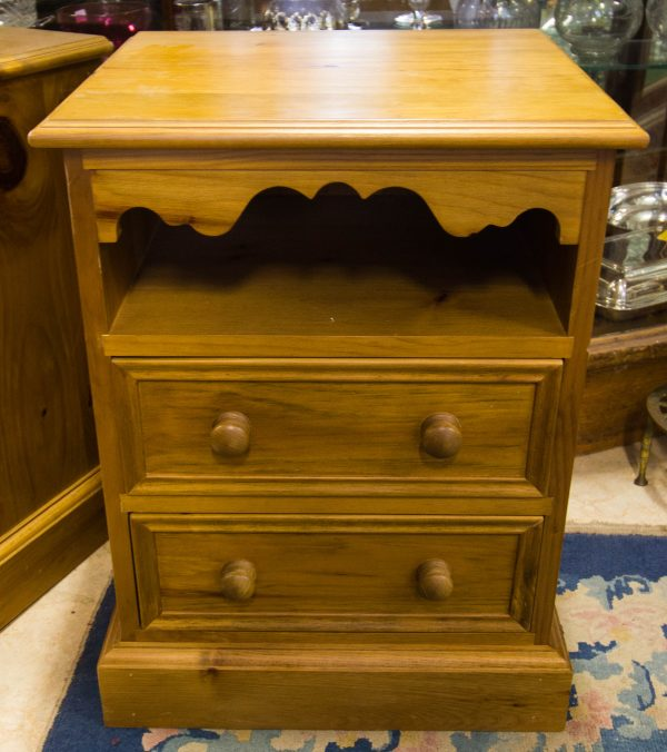 pair of pine bedside lockers