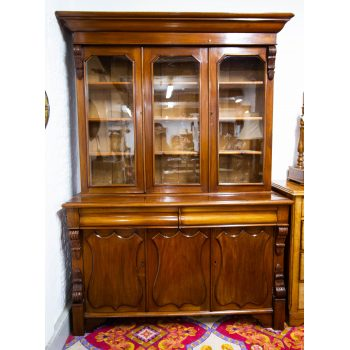 three door mahogany bookcase