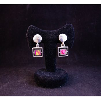 Pair of Mexican silver and pink fire opal square drop earrings