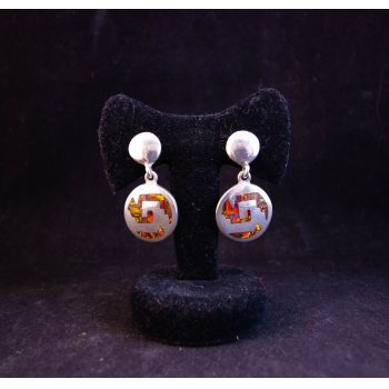 Pair of Mexican silver and orange fire opal round drop earrings