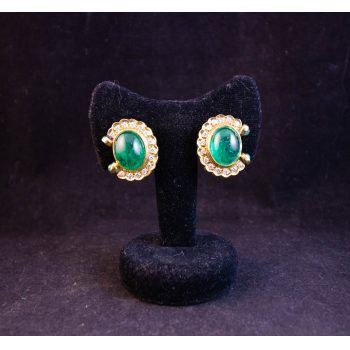 18k yellow gold and capuchon emerald and diamond earrings. These earrings have an interesting feature of a drop post so that these earrings can be worn either pierced or clip on.