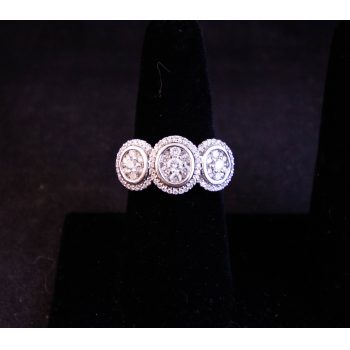 Pave diamond and 18k white gold dress ring. Size N