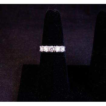 18k white gold and diamond five stone ring. Total diamond .7ct. Size N