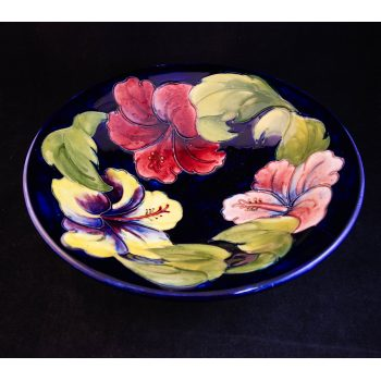 "Moorcroft pottery orchid dish. Measures 10""W"