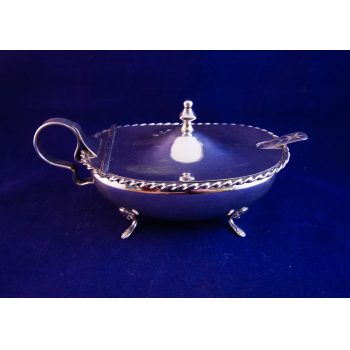 "French silver sugar bowl with hinged lid and spoon. Measures 7""L x 4.5""W x 3.5""H"