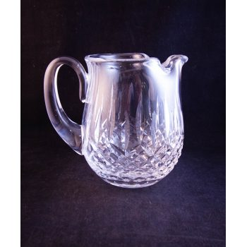 "Waterford Crystal cut glass water jug, featuring old Waterford acid stamp. Measures 6""H x 7""W"