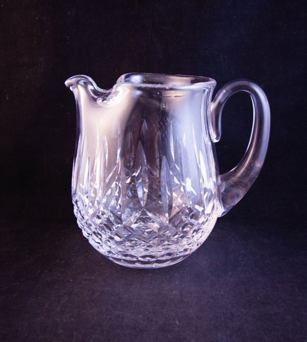 """Waterford Crystal cut glass water jug, featuring old Waterford acid stamp. Measures 6""""H x 7""""W"""