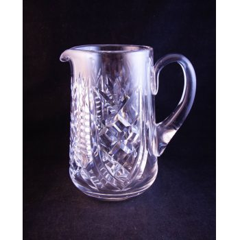 "Waterford Crystal Clare pattern cut glass water jug, featuring old Waterford acid stamp. Measures 7.5""H x 7""W"