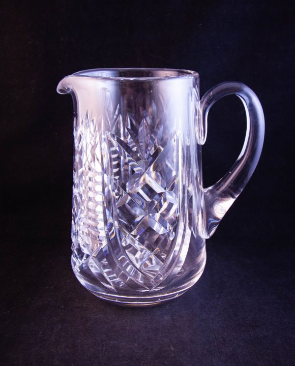 """Waterford Crystal Clare pattern cut glass water jug, featuring old Waterford acid stamp. Measures 7.5""""H x 7""""W"""