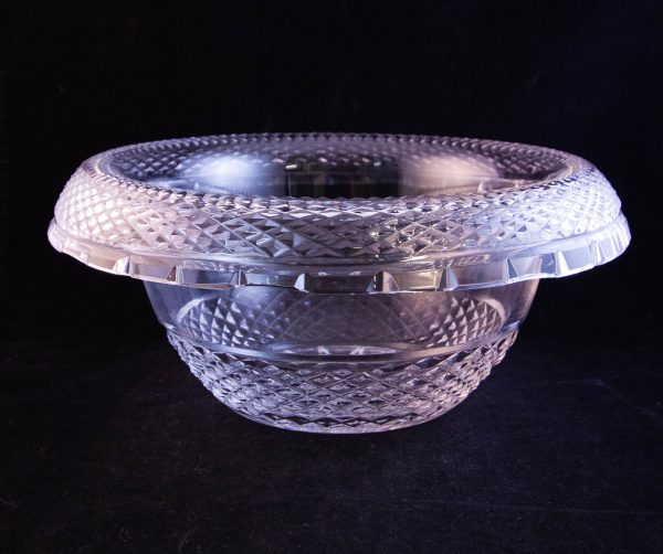 "Waterford Crystal cut glass rollover turnover salad or fruit bowl. Measures 9""W x 4.5""H"