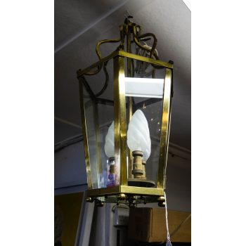 "Brass lantern with three lights. Measures 23""H x 11""W"