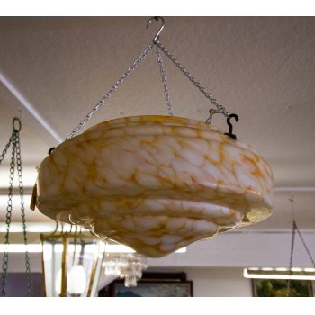 "Amber coloured glass mottled light shade. Measures 14""W x 6""H"