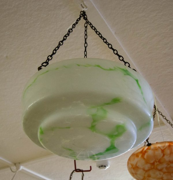 """Green and white mottled glass light shade. Measures 13""""W x 6""""H"""
