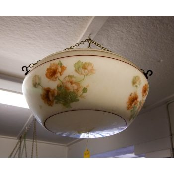 "Painted floral glass light shade. Measures 16""W x 7""H"