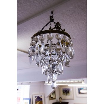 """Vintage French tiered bag chandelier. Measures 16""""H x 9""""W"""