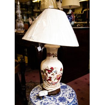 "Masons Ironstone table lamp and shade. Measures 6""W x 19""H including shade."