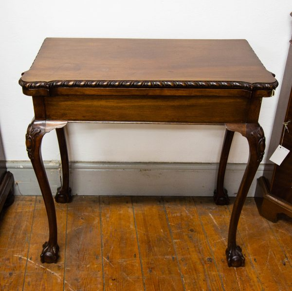 """Fold over mahogany card table. Measures 31""""L x 16""""D (closed) x 29.5""""H"""