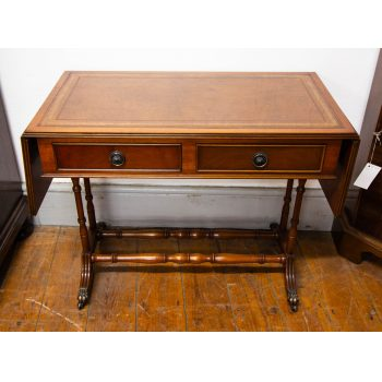 "Leather top drop leaf mini sofa table with two drawers and castors. Measures 30.5""L (plus 9"" each leaf) x 16""W x 23.5""H"