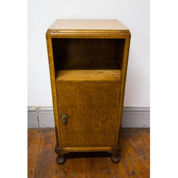 "Maple bedside locker with carved details. Measures 14.5""L x 12.5""D x 30.5""H"