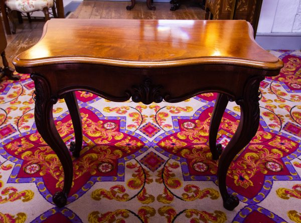 """Victorian mahogany fold over card table. Measures 37""""L x 19.5""""D (39"""" open) x 31""""H"""