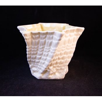 "Belleek brown mark shell pattern mini vase. Measures 3.5""H x 5""W"