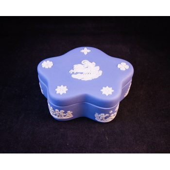 "Wedgwood blue trinket box (stamp faded). Measures 4""L x 1.5""H. Price includes nationwide delivery"