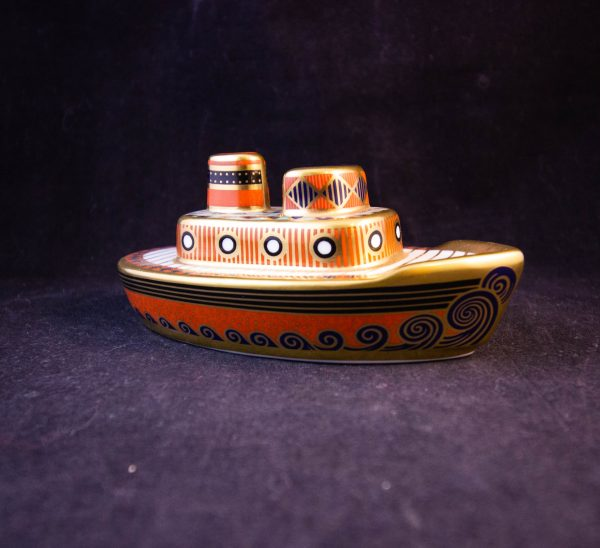 """Royal Crown Derby Treasures of Childhood tug boat ornament in box. Measures 4.75""""L x 2""""H Price includes nationwide delivery"""