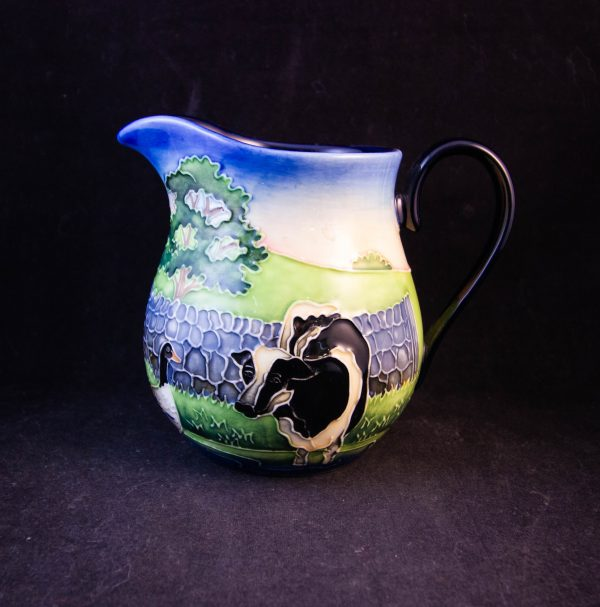 """Old Tuptonware hand painted milk jug with farmyard scene. Measures 5""""L x 4.5""""H Prices include nationwide delivery"""
