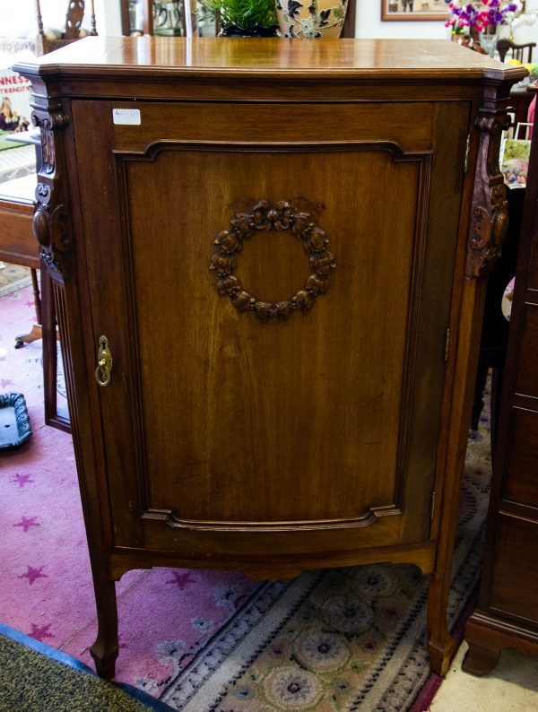 """Quality mahogany shaped front music cabinet. Measures 29""""W x 18""""D x 45""""H. Price includes nationwide delivery."""