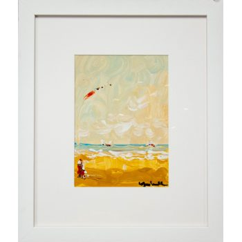 "Marie Carroll ""Kite Flying"" oil painting on board. Frame measures 43L x 51H in cm, painting measures 20L x 27H in cm. Price includes nationwide delivery."
