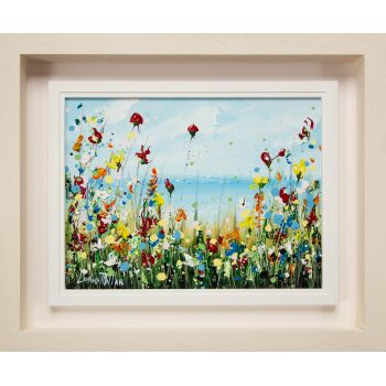 """Lorna Millar """"Wildflowers"""" oil painting on board. Frame measures 58L x 48H in cm, painting measures 39L x 29H. Price includes nationwide delivery."""