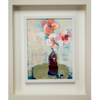 """Tom Byrne """"Pink Flowers"""" oil painting on canvas. Frame measures 54L x 64H in cm, painting measures 29L x 39H. Price includes nationwide delivery."""