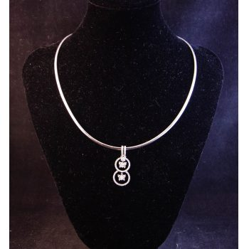 18k white gold snake chain necklace with 18k white gold and diamond butterfly pendant