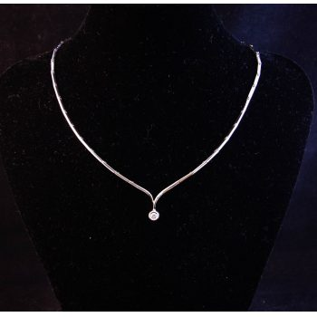 18k white gold and diamond solitaire necklace. Price includes nationwide delivery